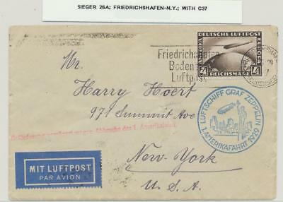 GERMANY -USA, 1929 GRAF ZEPPELIN COVER, 4M (Sc#C37)RATE Si#26A