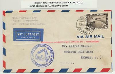 GERMANY-USA 1929 GRAF ZEPPELIN COVER, 4M RATE Si#26A