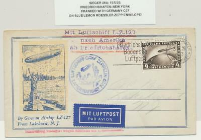 GERMANY-USA 1929 GRAF ZEPPELIN BLUE/LEMON ROESSLER COVER, 4M RATE Si#25A
