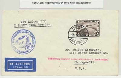 GERMANY-USA 1929 LZ127 ZEPPELIN COVER, 4M RATE, BORDPOST Si#26B