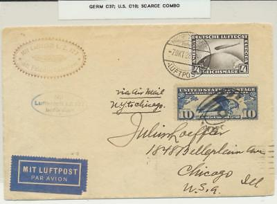 GERMANY-USA 1928 LZ127 ZEPPELIN COVER, SCARCE MIXED FRANK, US 10c+4M ZEPP RATED