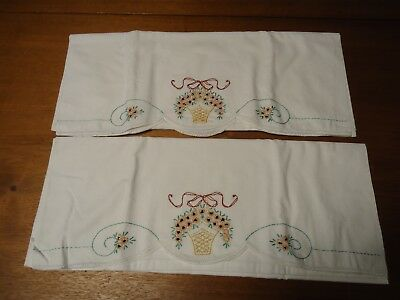 Vintage Pillowcase Pair With Gold Embroidered Flowers & Baskets
