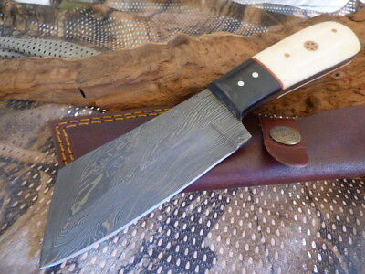 Tanto White Horn Wood Damascus Fixed Blade Knife Filework 20Cm Hunting Sheath