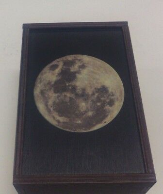 "Made in the USA!  TAROT CARD ""FULL MOON"" STORAGE WOOD BOX-NEW"