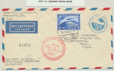 GERMANY- SPAIN 1930 ZEPPELIN COVER, 2M SUDAMERIKA RATED Sc#C38