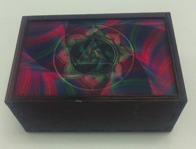 "Made in the USA!  TAROT CARD ""KALI YANTRA"" STORAGE WOOD BOX-NEW"