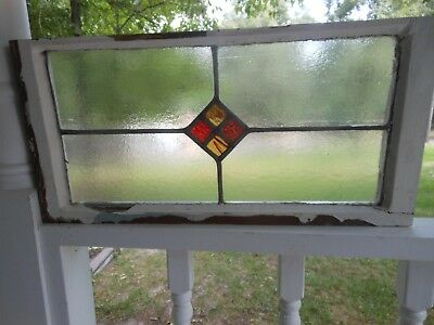 RD-206 Lovely Older Leaded Stained Glass Window From England 25 1/4 X 12 1/4