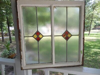 """RD-207 Lovely Older Leaded Stained Glass """"Double"""" Window F/ England 25 1/4 X 25"""