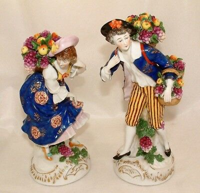Superb Antique Good Quality Pair Of Continental Fruit Picker Figurines