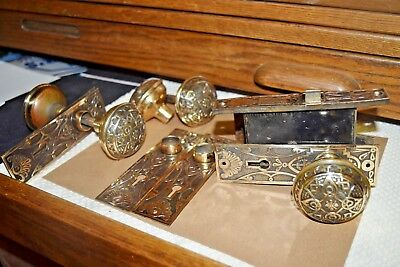 Antique Brass 6 Door Knobs 3 Spindles 6 Plates 1 Box Lock Vintage SALVAGE Ornate