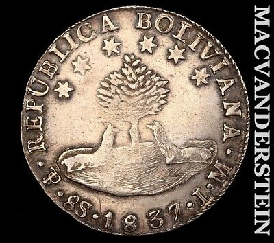 1837 Bolivia Eight Soles-Scarce Better Date!! Y8973