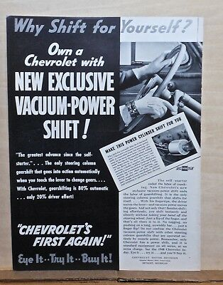 1939 magazine ad for Chevrolet - Vacuum Power Shift ends labor of gear shifting