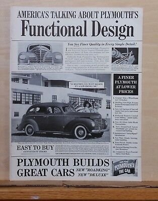 1939 magazine ad for Plymouth - Functional Design, Touring Sedan, features list
