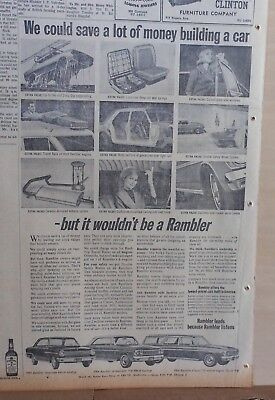 1963 newspaper ad for Rambler, photos of features, Ambassador, American, Classic