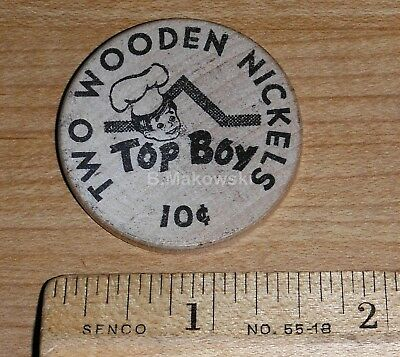 *RARE* TOP BOY Restaurant DOUBLE Wooden Nickel/Trade Token/Danville, Illinois