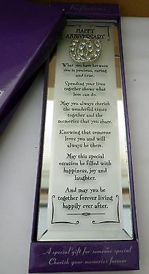 """""""happy Anniversary"""" Reflection Mirror Plaque With Inspirational Verse Gift Boxed"""