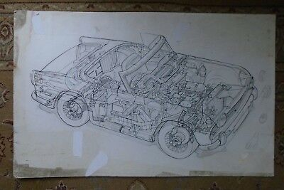 Triumph TR5 Unique Original Artwork Cutaway Drawing 1960's or 1970's
