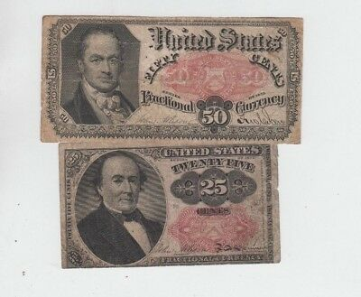 Fractional Currency Civil War era item to 1870's 2 notes lower grade