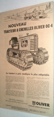1957 Oliver Oc-4 Caterpillar Tractor Original Ad In French