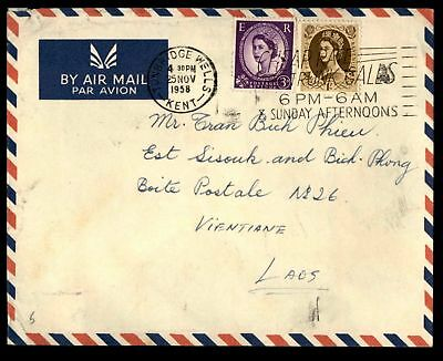 Concord College Tumbridge Wells Kent Nov 25Th Air Mail Ad Cover To Vientiane Lao