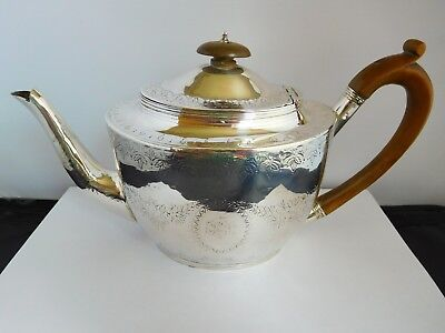 Good Size Georgian English Sterling Silver Teapot - London 1806
