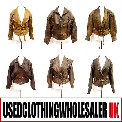 10 WOMEN'S 80's VINTAGE FASHION BROWN LEATHER JACKETS WHOLESALE CLOTHING 12KG
