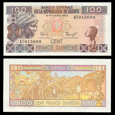 GUINEA / Guinée 100 Cents Francs Guineens 1960 Uncirculated Banknote