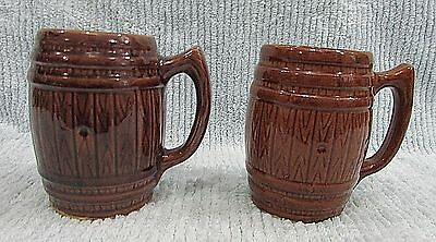 Pair vintage brown stoneware pottery old country beer barrel stave mugs FREE S/H