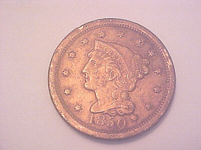 1850 Braided Hair Large One Cent Coin