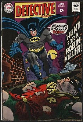 Detective #374 Robin Dead Batman Swears Vengeance! Great Cover Glossy + Ow Pages