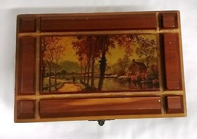 Vintage Cedar Wood Hinged Jewelry Trinket Box Carved Rural Scene NICE w/ lock