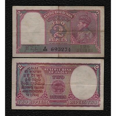 INDIA 2 RUPEES  (1937)  P17A  SIG TAYLOR   KING GEORGE VI Grades Fine
