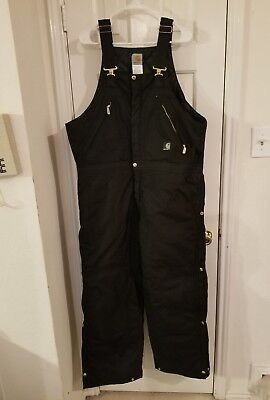 Carhartt Mens Black Overalls Size 38X30 New Without Tags!!