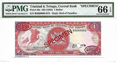 Trinidad & Tobago, Central Bank - $1, nd (1985). Specimen. PMG 66EPQ. RARE.