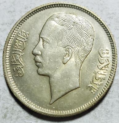 Iraq, 20 Fils, 1938I, Choice Almost Uncirculated, .0579 Ounce Silver