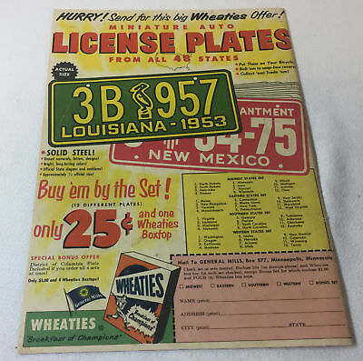 1953 Wheaties LICENSE PLATES premiums ad page version 1 ~ LOUISIANA, NEW MEXICO