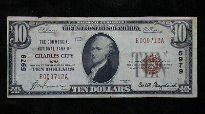 1929 Commercial National Bank of Charles City Iowa National Currency $10 Note