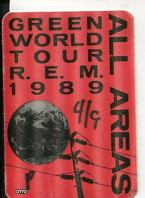 1989 R.E.M. satin cloth All Areas pass Green World Tour