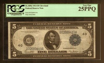 Fr 859c $5 1914 Federal Reserve Note (D) Cleveland District PCGS Very Fine 25PPQ