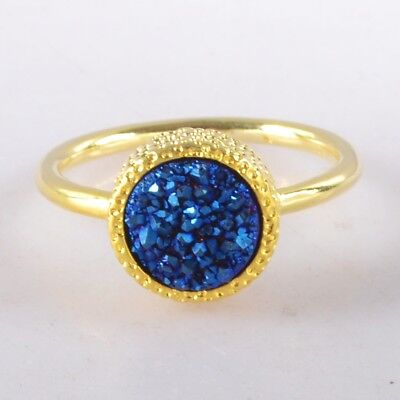 Size 6 Natural Agate Titanium Druzy Bezel Ring Gold Plated H116604