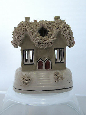 Fine Antique Staffordshire Pottery House Thatched Roof - Money Box?