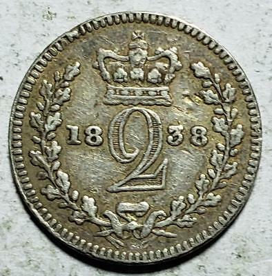 Great Britain, Maundy 2 Pence, 1838, Fine, .028 Ounce Silver