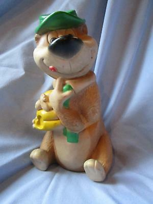 """Vintage Yogi Bear with beehive squeak rubber toy 9"""" tall"""