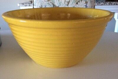 French Farm Country Cottage Decor Antique Yellow Ware Pottery Bowl Lg