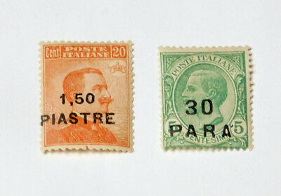 Scott 35  and Scott 45  2 mint hinged Italy Offices in Turkish Empire