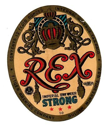 Beer Label: IRTP; Fitger Brewing Co, Kiewell Falls MN, 12ox Rex Strong Beer