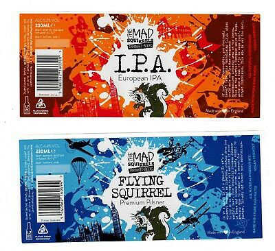 Beer Labels: 2 x Red Squirrel Brewing Co, Potten End