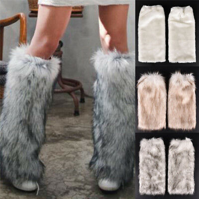 New Women Fluffy Fuzzy Faux Fur Fashion Dance Leg Warmers Muffs Boot Covers FG