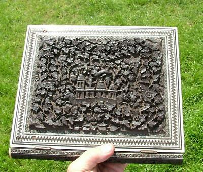 Amazing Antique Indian Carved Wooden & Inlaid Book Album Of 12 Poems