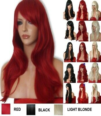Blonde Ladies Natural Long Curly Straight Wavy Curly Party Ladies Adult Wig